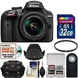 Nikon D3400 Digital SLR Camera & 18-55mm VR DX AF-P Zoom Lens (Black) 32GB Card + Case + UV Filter + Remote + Hood + Kit