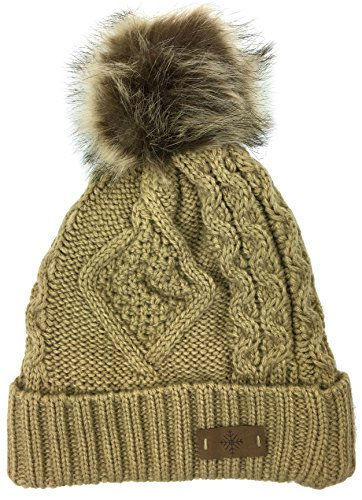 Cable Cuff Beanie (Plum Feathers Soft Thick Faux Fur Pom Pom Fleece Lined Skull Cap Cuff Beanie (Camel Cable))