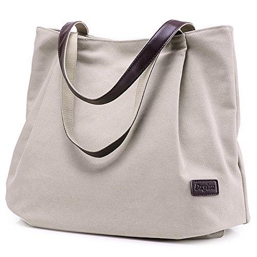 Bookbag Overnight Schoolbag Shoulder Travel College For Bags Canvas Handbag Beige Women ptxqYBB