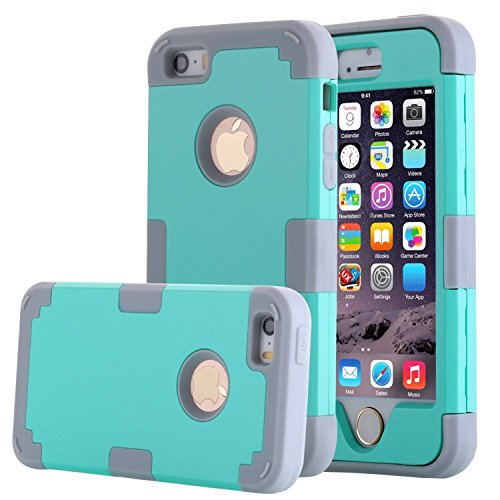 Price comparison product image Asstar 3 in 1 Hard PC+ Soft TPU Impact Protection Heavy Duty Shockproof Full-Body Protective Case for Apple iPhone SE / iPhone 5 5S - Mint grey
