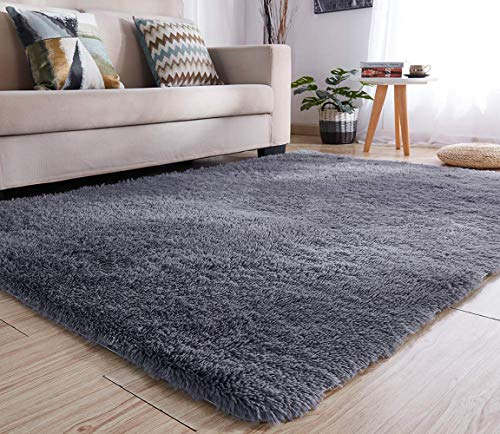 YJ.GWL Soft Shaggy Area Rugs for Bedroom Kids Room Children Playroom Non-Slip Living Room Nursery Carpets Mat Home Decor 4 x 5.3 Feet (Gray) ()