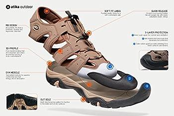 Atika At-w107-kgy_women 8 B(f) Women's Sports Sandals Trail Outdoor Water Shoes 3layer Toecap W107 3