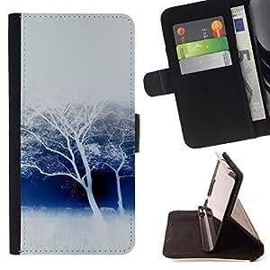 BullDog Case - FOR/Apple Iphone 4 / 4S / - / winter white trees snow forest nature savannah /- Monedero de cuero de la PU Llevar cubierta de la caja con el ID Credit Card Slots Flip funda de cuer