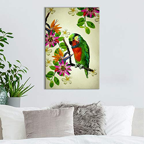 Vintage Style Parrot on Flower Branch