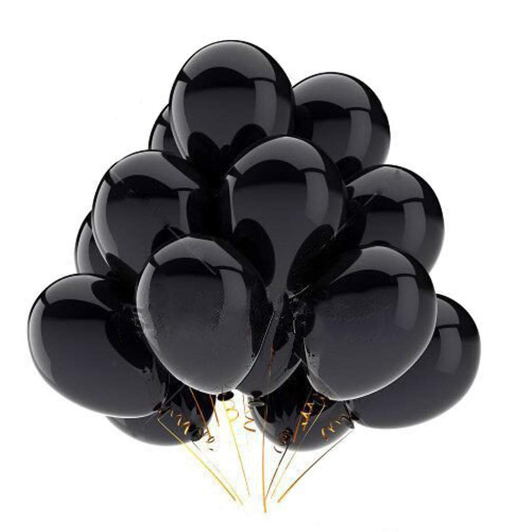 FECEDY 12' Black Shiny Latex Balloons 100pcs/pack