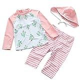 UV Sun Protective Baby Girls Swimsuit Long Sleeve Kids 3pcs Cactus Bathing Suit Rash Guards UPF 50+ Pink 2-3T