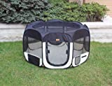 New Black As Seen On TV Pet Dog Cat Tent Playpen Exercise Play Pen Soft Crate L