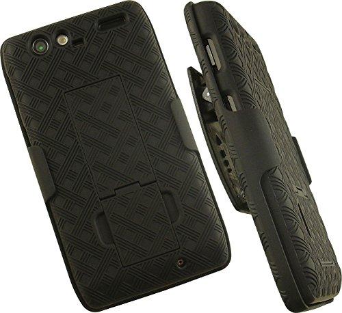 - NAKEDCELLPHONE'S BLACK RUBBERIZED KICKSTAND HARD CASE COVER + BELT CLIP HOLSTER FOR VERIZON MOTOROLA DROID RAZR XT910 XT912