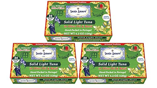 SANTO AMARO Artisanal Wild Tuna in Olive Oil & Basil (3 Pack, 120g Each) Venice Style! Natural - GMO FREE - Low Mercury - Pole & Line Caught Skipjack Light Tuna - Solid Pack - Hand Packed in PORTUGAL