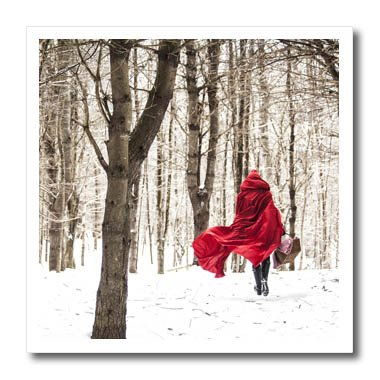 3dRose TDSwhite – Photography - Little Red Riding Hood Fairy Tale Snowy Woods Winter Day Photo - 8x8 Iron on Heat Transfer for White Material (ht_266461_1) (Red Riding Little Fabric Hood)