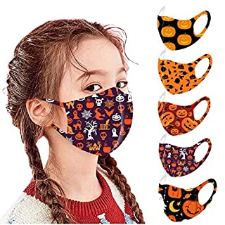 Mallocat 5PC Kids Face_Masks Halloween Print Breathable Seamless Reusable Washable Cotton Cloth Face Bandanas Shields Protective for Children Students Back to School