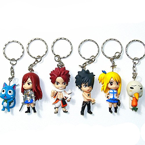 Best Anime Cute Action PVC Figure Model 6 pcs/set Keychains Action Figure Key ring Hanging Accessories Kids toy for Birthday
