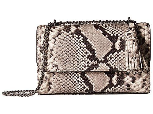 (Tory Burch Fleming Snake Skin Embossed Leather Convertible Shoulder Handbag in Natural)