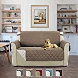 Reversible Quilted Furniture Protector Two Fresh Looks in One, Soft and Suede Like Finishing Slipcovers with Adjusts Straps (Love Seat: Taupe/Beige) - 75'' x 90''