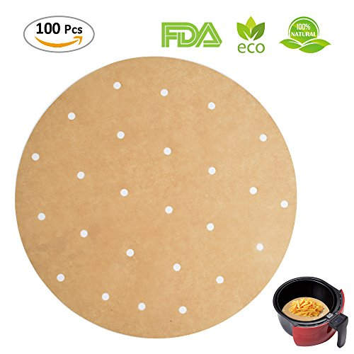 100pcs Unbleached Air Fryer Liners, 9inch Bamboo Steamer Liners, BESEGO Premium Perforated Parchment Steaming Papers, Non-stick Steamer Mat, Perfect for 5.3 & 5.8 QT Air (Bamboo Steamer Cleaning)