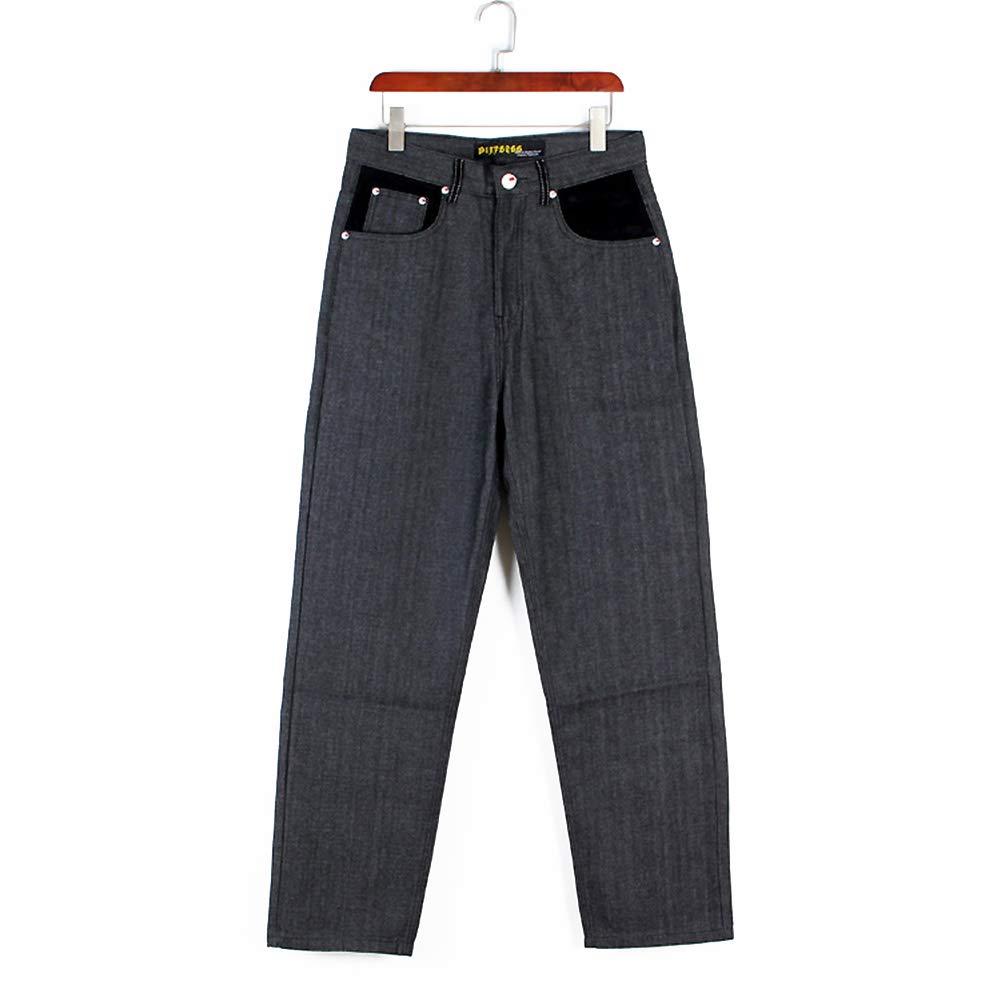 cca088cc78 Ruiatoo Men s Boy Baggy Loose Fit Hip Hop Black Denim Long Casual Pants  Jeans 42