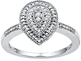 Size - 5.5 - Solid 10k White Gold Round White Diamond Engagement Ring OR Fashion Band Channel Set Pear Shaped Halo Ring (1/10 cttw)