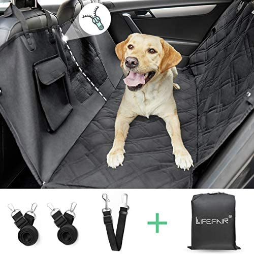 LIFEFAIR Car Seat Cover for Dog,Pet Seat Cover Hammock with Mesh Window and Side Flaps, Dog Car Seat Waterproof 900D Heavy Duty Fabric Scratch Proof for Car Trucks and SUV