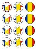 Twelve 2%22 Romanian Flag Edible Image C