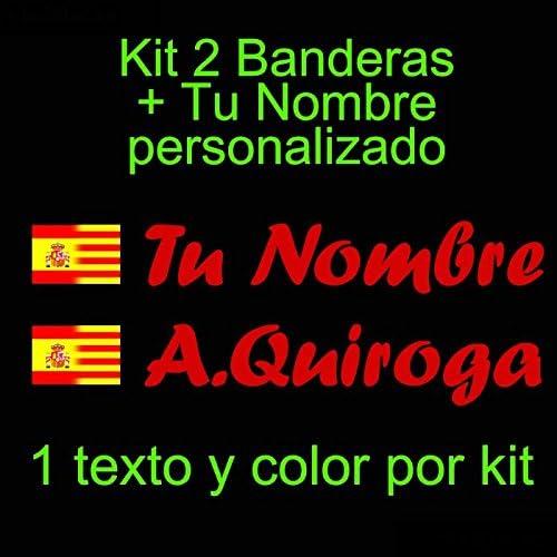Vinilin - Pegatina Vinilo Bandera España/Cataluña + tu Nombre - Bici, Casco, Pala De Padel, Monopatin, Coche, etc. Kit de Dos Vinilos (Rojo): Amazon.es: Deportes y aire libre