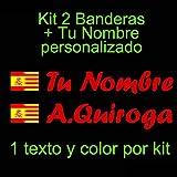 Vinilin - Pegatina Vinilo Bandera España/Cataluña + tu Nombre - Bici, Casco, Pala De Padel, Monopatin, Coche, etc. Kit de Dos Vinilos