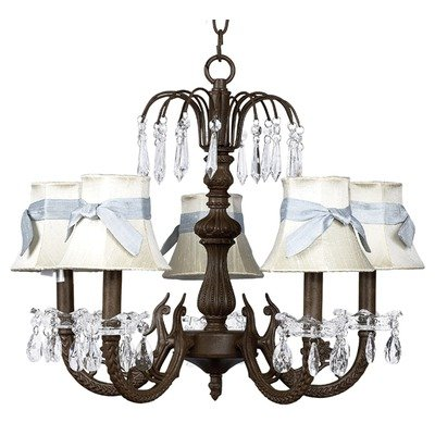 - Jubilee Collection 7043-2409-307 5 Arm Water Fall Mocha Chandelier with Plain Ivory Shade with Sash