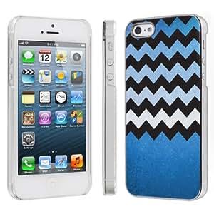 SkinGuardz Ultra Slim Plastic Cover Case for Apple iPhone 5 - Blue Texture Chevron