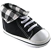 Luvable Friends Fold-Down Hi-Top Sneakers (Infant), Black, 6-12 Months M US Infant