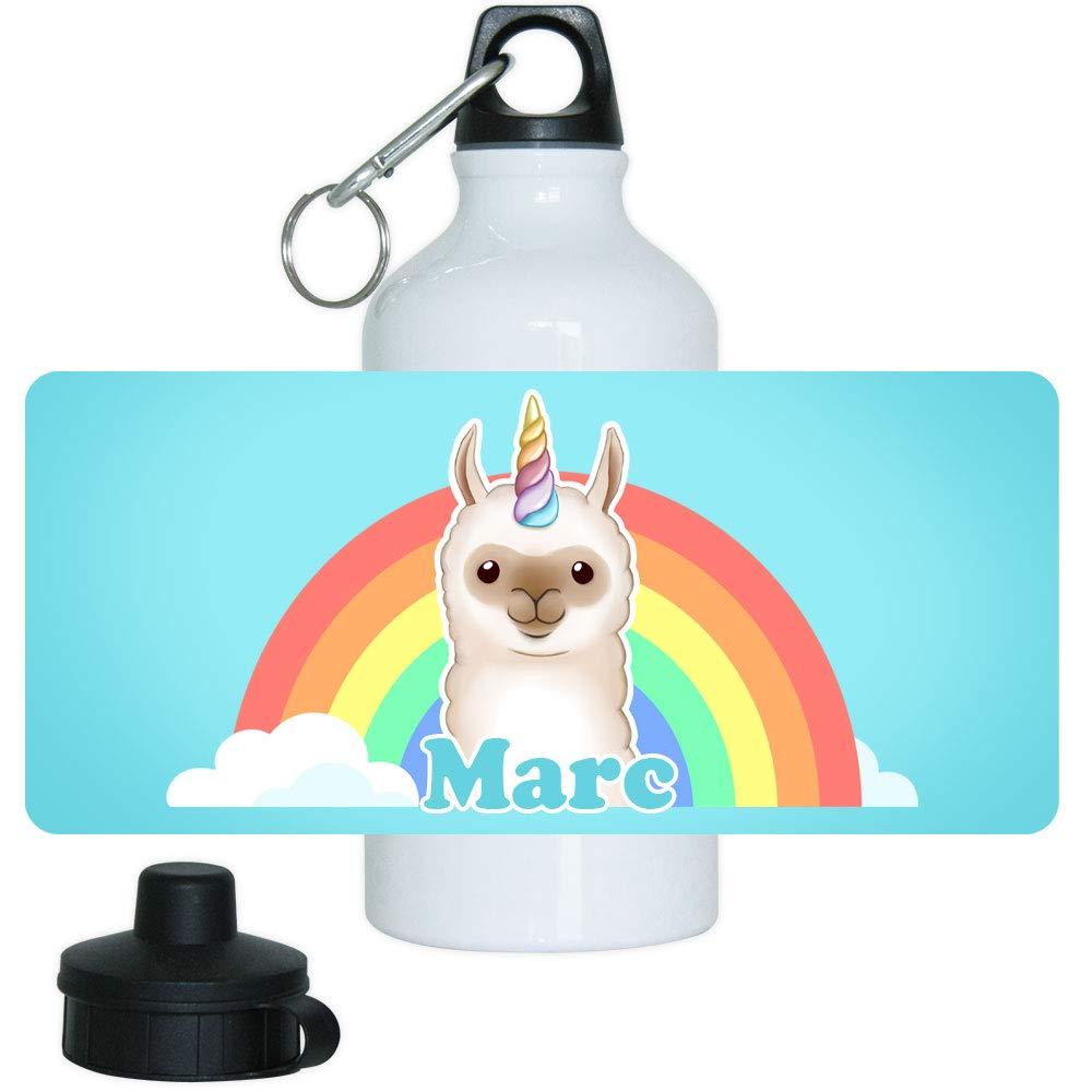 Eurofoto Trinkflasche mit Namen Marc und Motiv mit Lama-Einhorn für Jungen   Motiv-Trinkflasche   Kinder-Aluflasche