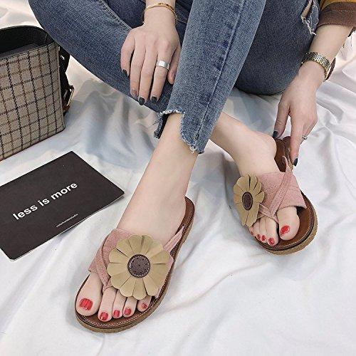 Color Sandalias para Flop de 35 con Verano Negro o Planas Unidades Mujer Dise Flip Flores ITTXTTI Aqxw1A