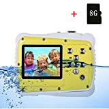 Kids Camera,Hangang Waterproof Underwater Digital Camera 12MP 720P Shoot Digital Video Recorder Cameras for Children Boys Girls (Yellow - include 8G SD card)