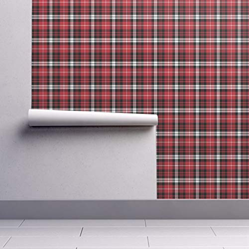 Peel-and-Stick Removable Wallpaper - Plaid Plaid Red Black White Plaid Tartan Fall Winter Red and White by Littlearrowdesign - 24in x 144in Woven Textured Peel-and-Stick Removable Wallpaper Roll ()