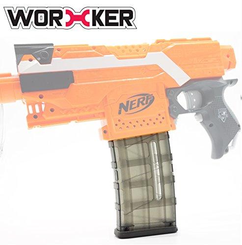 Craftworks Magazine (Worker Mod Modification 12 Darts Magazine Quick Reload Clip for Nerf Stryfe N-strike Elite Retaliator Blaster Color Black (Black Transparent, 21.5cm8cm3cm))