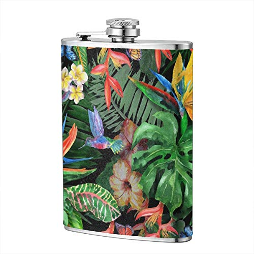 Tropical Bush Painting 8 Oz Portable Stainless Steel Liquor Bottle Pocket Flagon For Wine Alcohol Pocket Flagon Whiskey Container