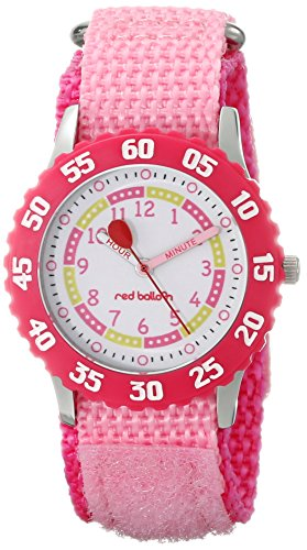 "Red Balloon Kids' W000175""Time Teacher"" Stainless Steel Watch with Pink Nylon Strap"