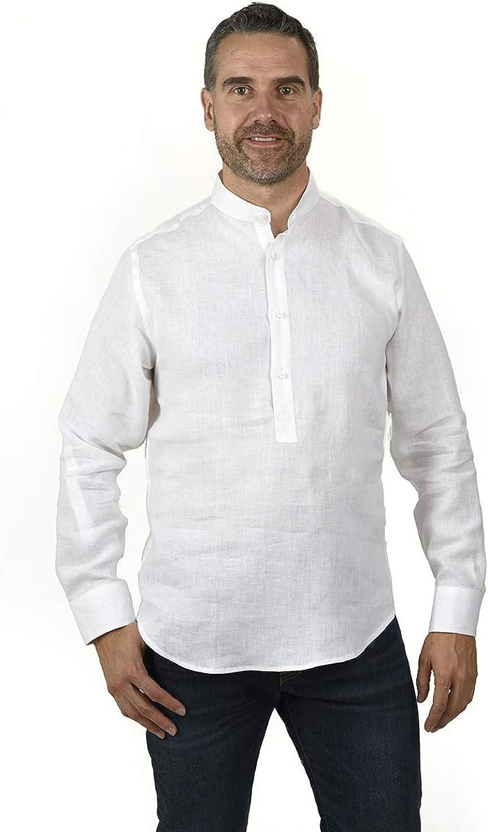 Camisa POLERA Cuello Mao Lino Blanca (XL): Amazon.es: Ropa y accesorios