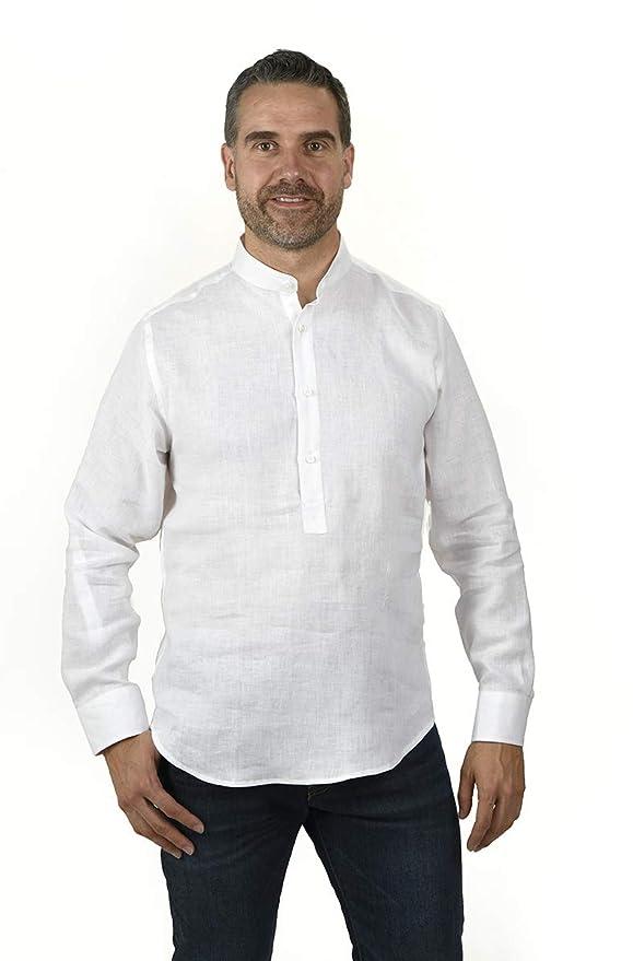 Enrique Pellejero Camisa Blanca Cuello Mao (XXL) Enrique