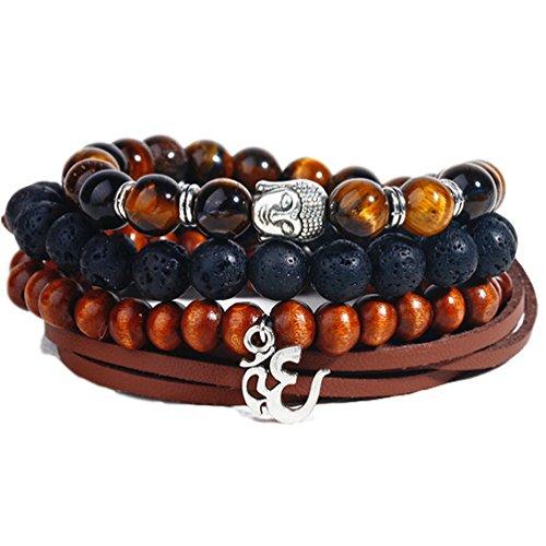 Boho Hippie Bracelet Set Made with Beads, Leather, Ohm and Buddha Charms and Hemp