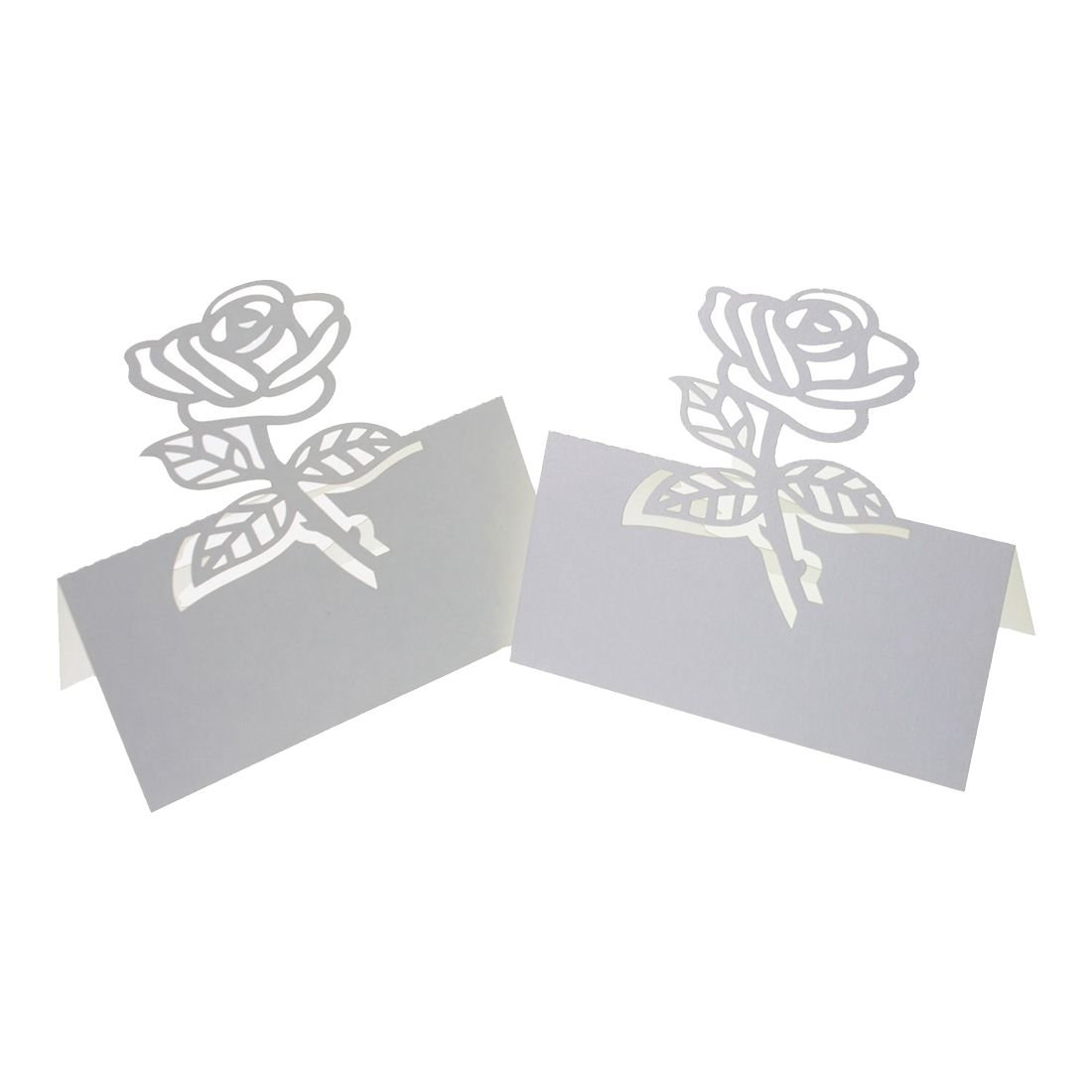 TOOGOO(R) 60x Rose Paper Wedding Table Numbers Place Card Escort Name Cards for Wedding Party Decoration White