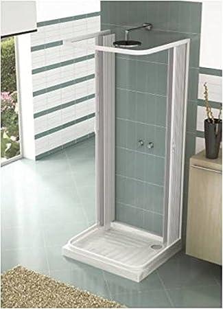 Mampara ducha tres lados extensible en PVC apertura central dos ...
