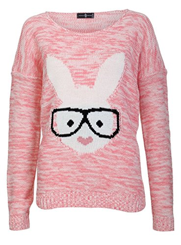 Jumper Rabbit - Forever Womens Long Sleeves Geek Rabbit Bunny Print Motif Knitted Jumper