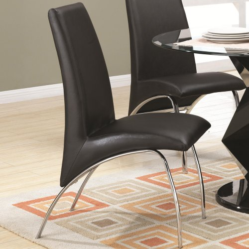 Coaster 120802 Ophelia Contemporary Vinyl and Metal Dining Chair - Pack of (Coaster Black Metal)