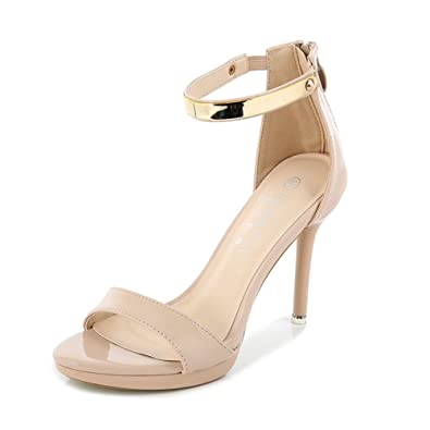 92da453f02db MAIERNISI JESSI Women s Ankle Strap Open Toe Stiletto High Heel Sandal for  Wedding Party Evening Shoes