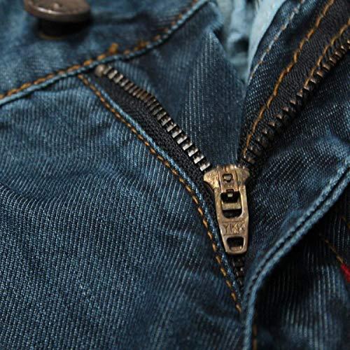 Con Giovane Media Pantaloni Dritti Jeans Vintage Slim Vita Blu Pants Uomo Denim Stretch In Casual Da Fit TOqSUO