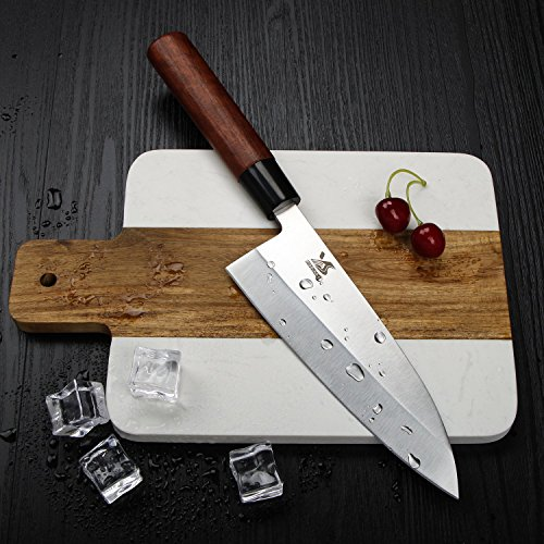 MSY BIGSUNNY 7 inch Deba knife Kitchen Cooking Chef Sushi Knife High Carbon Stainless Steel Blade with Rose wood Handle by MSY BIGSUNNY (Image #1)