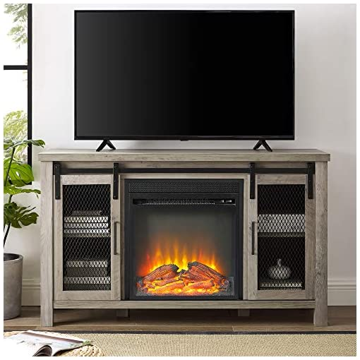 Farmhouse Living Room Furniture 48″ Rustic Farmhouse Fireplace TV Stand – Grey Wash farmhouse tv stands
