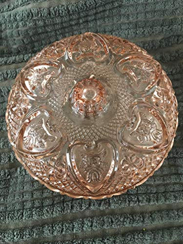 depression glass Blush Pink Covered Bowl