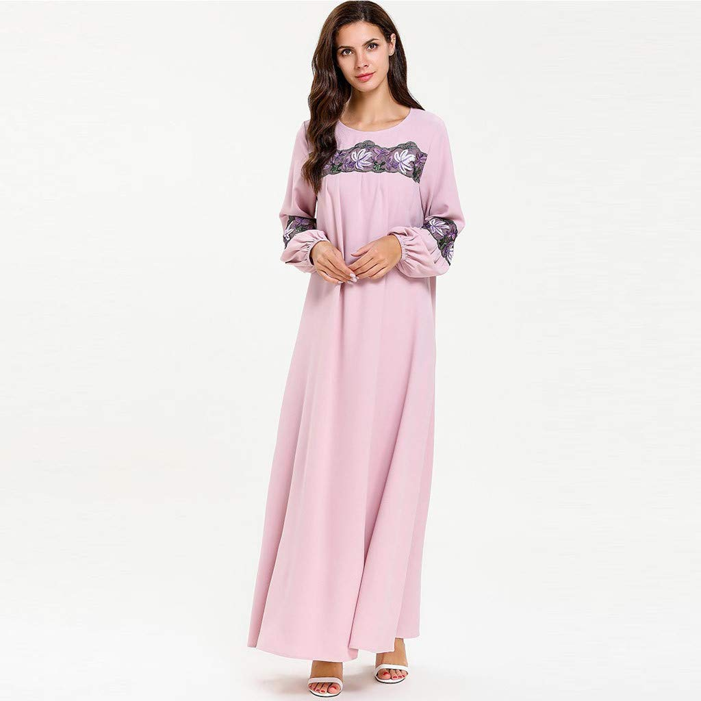 perfectCOCO Women Muslim Dress Elegant Floral Loose Arab Dresses Islam Jilbab Cocktail Robes Pink by perfectCOCO dress (Image #4)