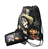 Cheap Disney Licensed COCO Sling Drawstring backpack Tote Bag w/ Small Wallet (black)