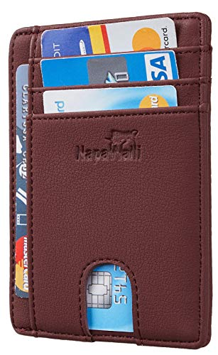 Toughergun RFID Blocking Minimalist Genuine Leather Slim Front Pocket Wallet U (Alaskia Red ()